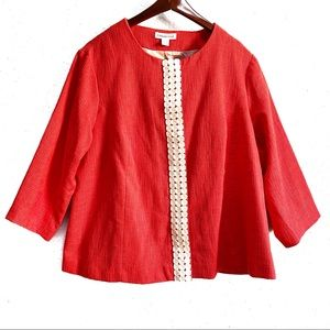 Coldwater Creek Coral Snap Front Jacket Size 20-22